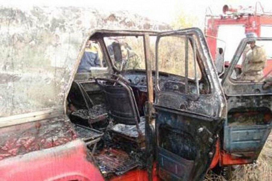 В брянском райцентре на площади Ленина сгорел автомобиль