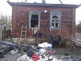 В Любохне горел деревянный дом