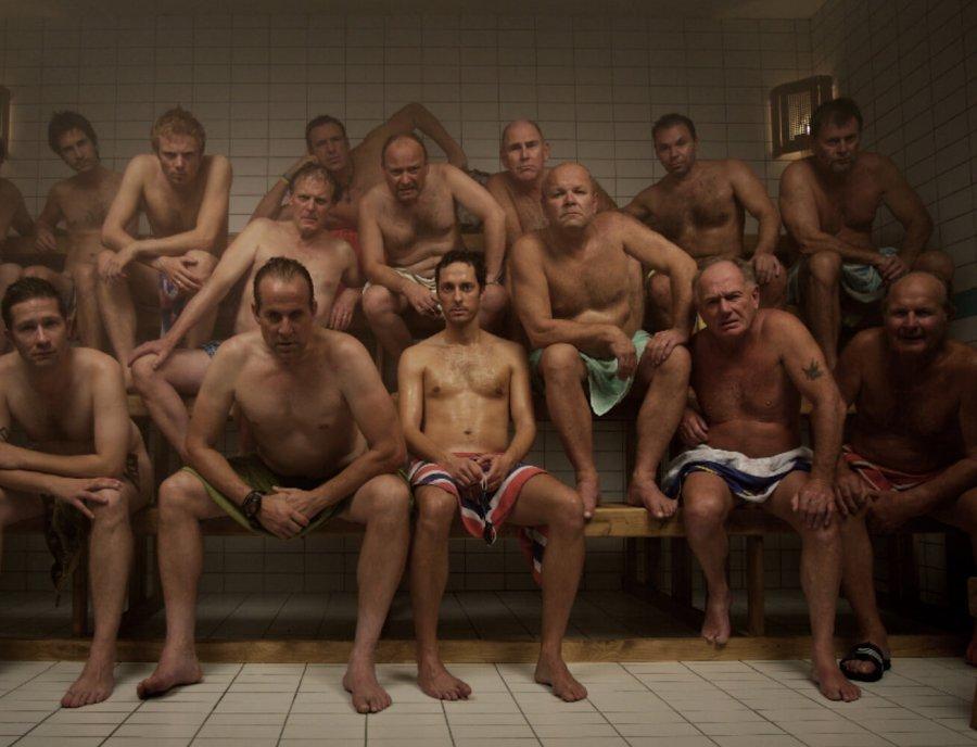 Молодые ребята в бане