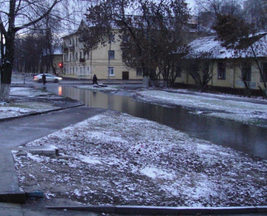 Жители Фокинского района Брянска жалуются на огромную лужу