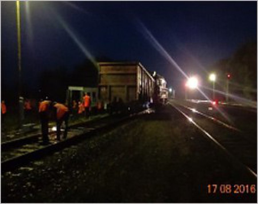 Опрокинувшийся грузовой поезд вКлинцах поставлен нарельсы