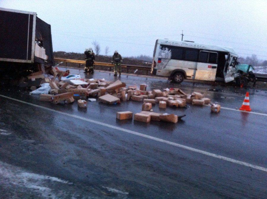 Под Брянском в страшном ДТП столкнулись грузовик и маршрутка: ранены 5 человек