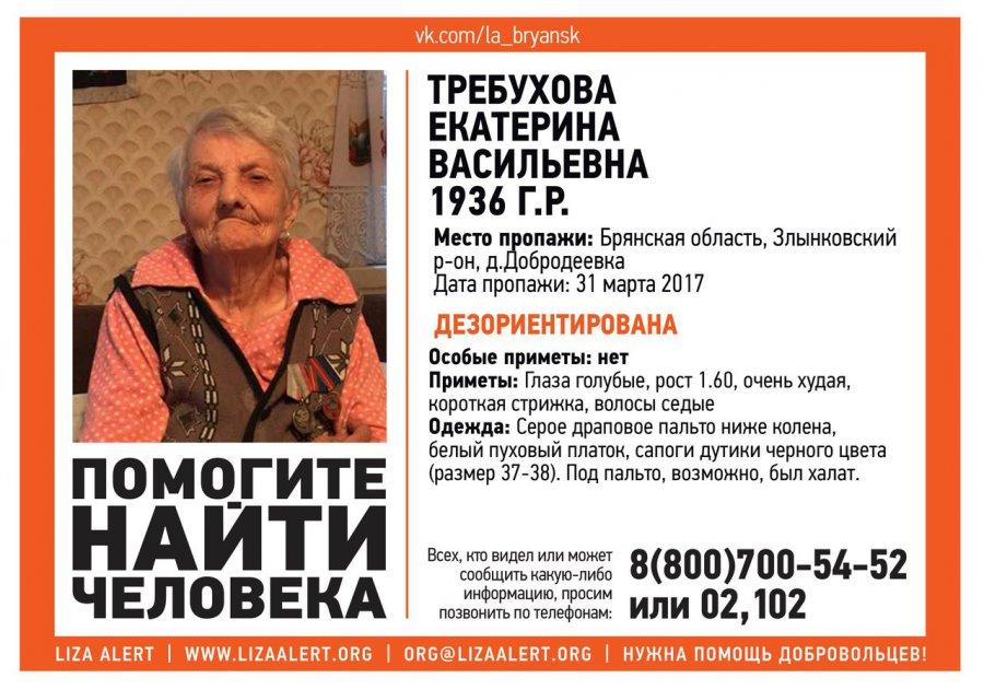 ВЗлынковском районе пропала 80-летняя пенсионерка Екатерина Требухова