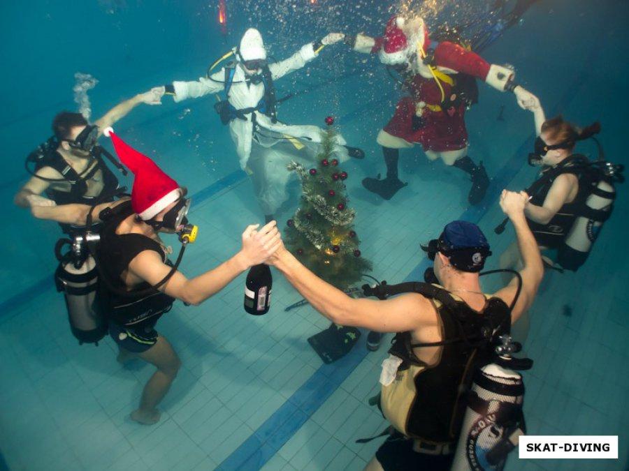 Брянцы водили хоровод вокруг новогодней елки под водой