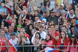 Брянск гуляет в честь исторической победы сборной России