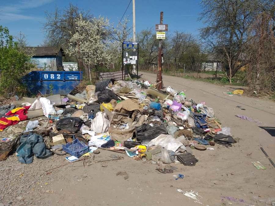 Брянские дачники устроили свалку рядом с мусорным контейнером