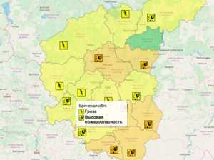 В Брянской области из-за грозы объявили «жёлтый» уровень опасности
