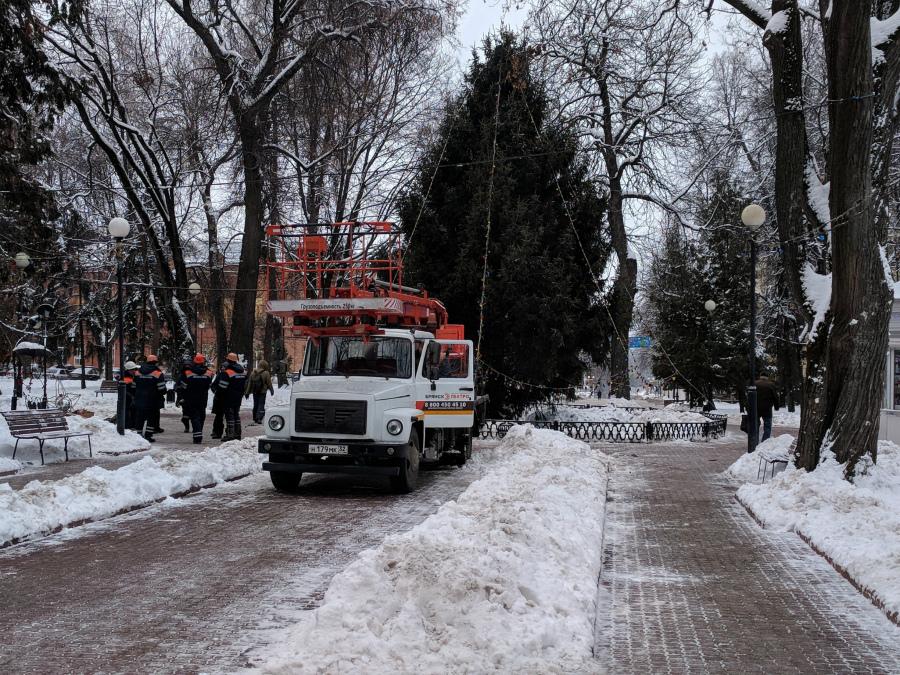 В Брянске начали украшать главную городскую ёлку