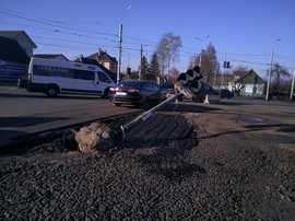 В Брянске сняли на фото «уставший» светофор на Городище